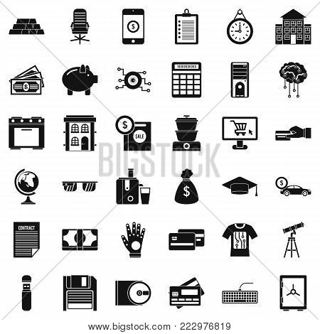 Invoice icons set. Simple style of 36 invoice vector icons for web isolated on white background