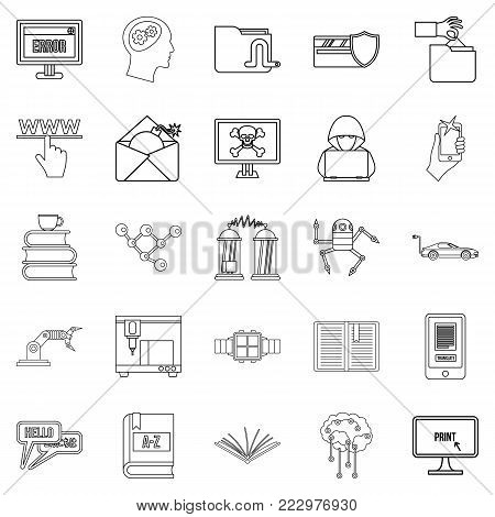 Cybernetics icons set. Outline set of 25 cybernetics vector icons for web isolated on white background
