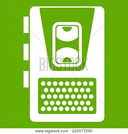 Dictaphone icon white isolated on green background. Vector illustration
