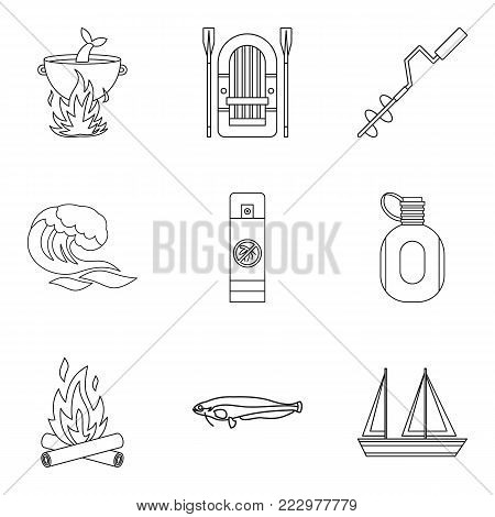 Marine fauna icons set. Outline set of 9 marine fauna vector icons for web isolated on white background