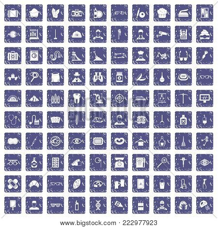 100 profession icons set in grunge style sapphire color isolated on white background vector illustration