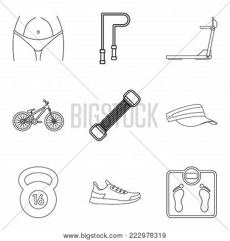 Physical activity icons set. Outline set of 9 physical activity vector icons for web isolated on white background