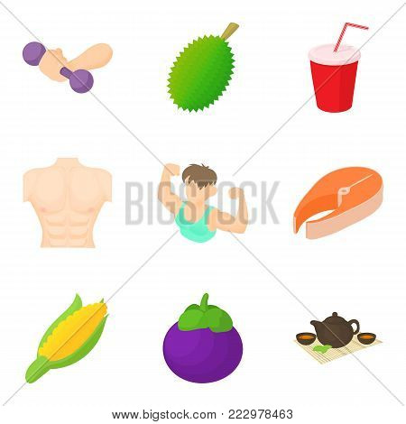 Motor activity icons set. Cartoon set of 9 motor activity vector icons for web isolated on white background