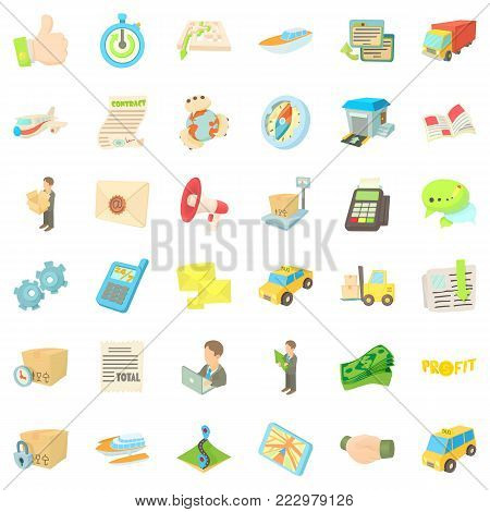 Logistic icons set. Cartoon style of 36 logistic vector icons for web isolated on white background