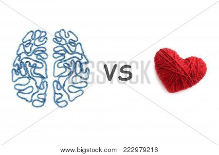 Brain, heart and inscription VS on white background