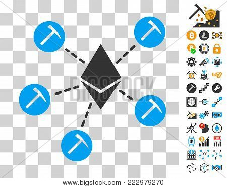 Ethereum Mining Pool icon with bonus bitcoin mining and blockchain pictures. Vector illustration style is flat iconic symbols. Designed for bitcoin websites.
