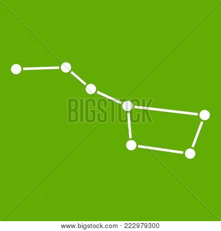 The Great Bear constellation icon white isolated on green background. Vector illustration