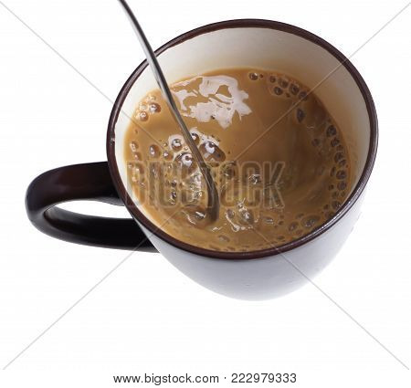 Mixing, Stirring Home Made Coffee Latte With A Spoon