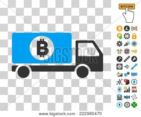 Bitcoin Delivery Lorry icon with bonus bitcoin mining and blockchain images. Vector illustration style is flat iconic symbols. Designed for blockchain websites.