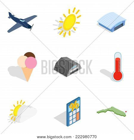 Fly away icons set. Isometric set of 9 fly away vector icons for web isolated on white background