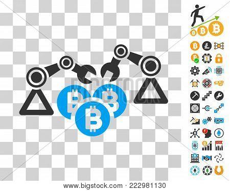 Bitcoin Mining Robotics pictograph with bonus bitcoin mining and blockchain icons. Vector illustration style is flat iconic symbols. Designed for blockchain ui toolbars.