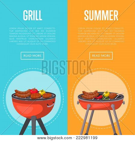 Summer grill party flyers with meat and vegetables on charcoal grill. Garden bbq picnic, family weekend food preparation. Outdoor cooking equipment with assorted delicious food vector illustration.