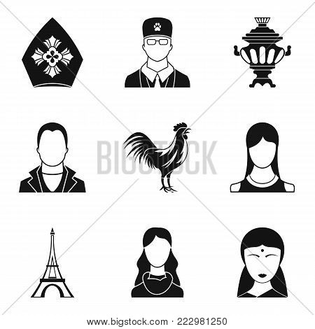Ethnic origin icons set. Simple set of 9 ethnic origin vector icons for web isolated on white background