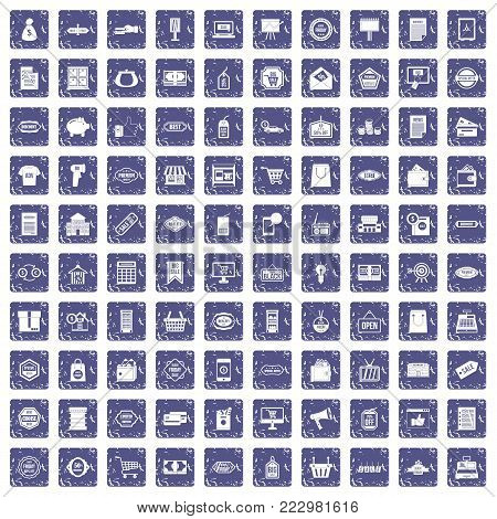 100 sale icons set in grunge style sapphire color isolated on white background vector illustration poster