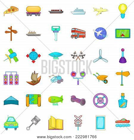 Shipping icons set. Cartoon style of 36 shipping vector icons for web isolated on white background