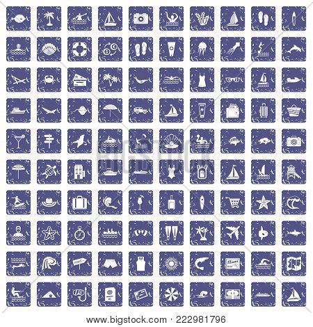 100 beach icons set in grunge style sapphire color isolated on white background vector illustration poster