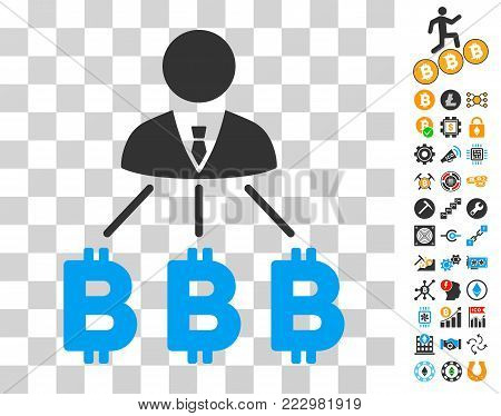 Businessman Bitcoin Expences pictograph with bonus bitcoin mining and blockchain pictograms. Vector illustration style is flat iconic symbols. Designed for cryptocurrency apps.