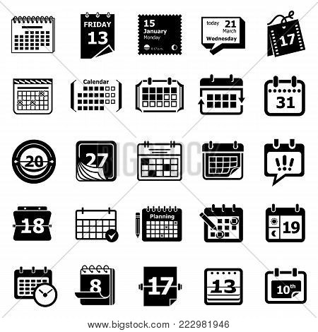 Calendar schedule planner icons set. Simple illustration of 25 Calendar schedule planner vector icons for web