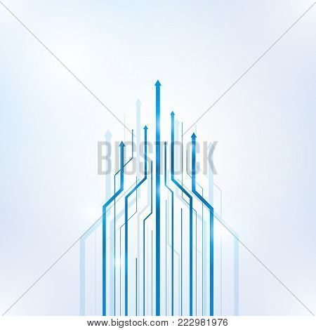 Arrow blue geometric abstract technology and science background, Vector illustration