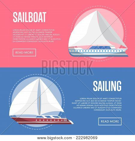 Worldwide sailing flyers with sailboats. Marine explore tour advertising, trip on speedy cruise ship, extreme yachting, nautical sport competition. Sea voyage on luxury sail yacht vector illustration.