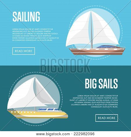Big sails flyers with passenger sailboats. Marine explore tour advertising, trip on cruise ship, extreme yachting, nautical sport competition. Sea voyage on luxury sail yacht vector illustration.