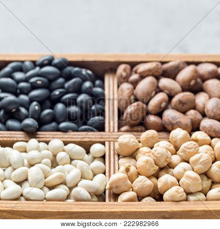 Different kinds of beans: black, pinto, white and chickpeas in a wooden box on concrete background, square