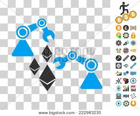 Ethereum Mine Robotics pictograph with bonus bitcoin mining and blockchain design elements. Vector illustration style is flat iconic symbols. Designed for bitcoin apps.