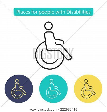 Disabled sign. Symbol paralyzed and human on wheelchair. Places for people with disabilities. Public Navigation symbol for info graphics. Line style image. Editable stroke. Vector illustration.