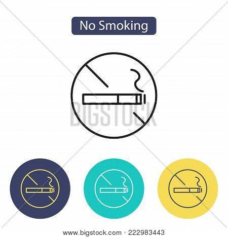 No smoking sign on white background. No smoking area simbol. Public Navigation symbol for info graphics, websites and print media. Line style image. Editable stroke. Vector illustration.
