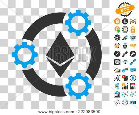 Ethereum Pool Collaboration icon with bonus bitcoin mining and blockchain clip art. Vector illustration style is flat iconic symbols. Designed for bitcoin apps.