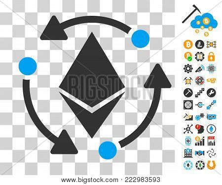 Ethereum Rotation icon with bonus bitcoin mining and blockchain graphic icons. Vector illustration style is flat iconic symbols. Designed for bitcoin websites.