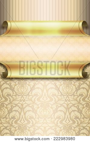 Vintage background with old-fashioned patterns anf golden rolls.