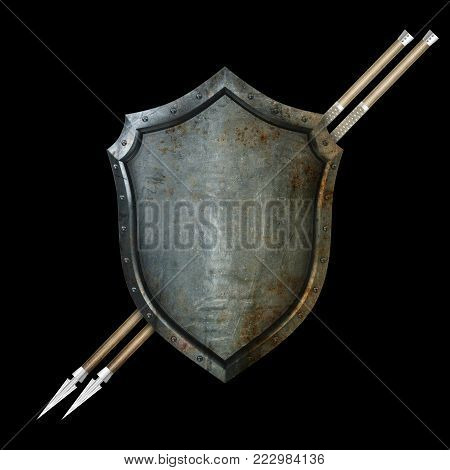 Ancient shield with two spears and riveted border on black background.