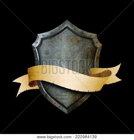 Ancient shield with torn golden ribbon and riveted border on black background.