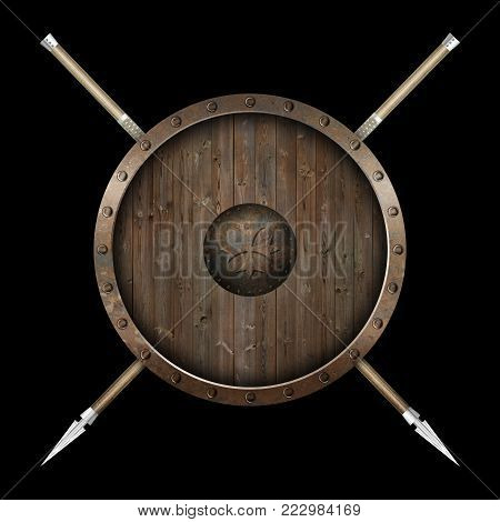 Ancient wooden shield with metallic riveted border and two spears on black background.