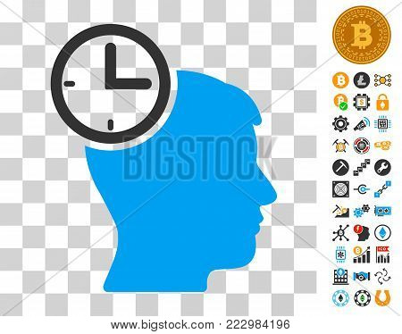 Time Management Head icon with bonus bitcoin mining and blockchain images. Vector illustration style is flat iconic symbols. Designed for crypto currency software.