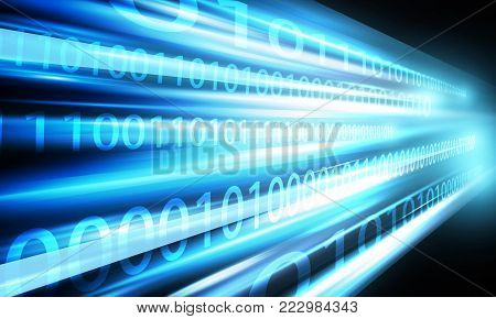 Network speed with binary data on black background
