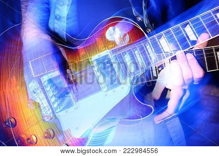 rock n roll music, creativity, passion concept. bright mixed photos of rock guitar in brutish hands of male musician, that is preforming compositions on the scene