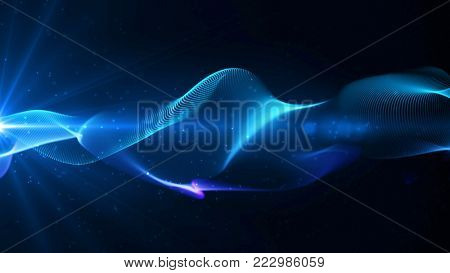 Blue elegant abstract dynamic lines with particles and star light. Technology, science and engineering theme. Abstract stylish wave background. 3D rendering.