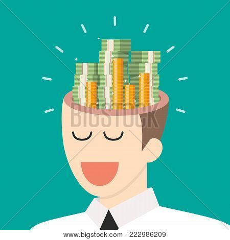 Pile of money in businessman head. Vector illustration