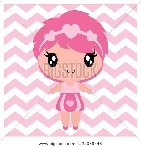 Cute baby girl on chevron background vector cartoon illustration for Baby shower card design, nursery wall, and postcard