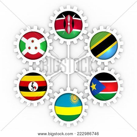 East African Community, EAC association of five national economies members flags on gear. Global teamwork. Blue background. 3D rendering