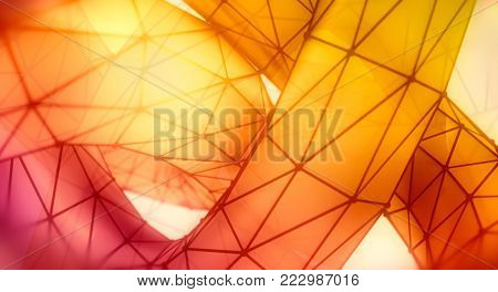 Abstract geometric shape. Twisted tube textured by lines. 3D rendering. Polygonal wire frame infinity loop model