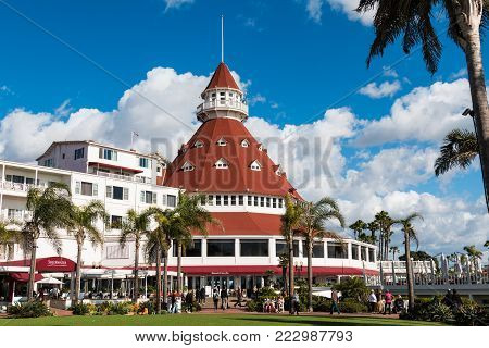 CORONADO, CALIFORNIA - JANUARY 20, 2018:  The signature red turret of the Hotel Del Coronado, a landmark hotel in the San Diego area which opened in 1888.