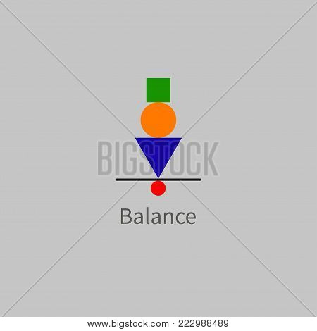 Icon balance, stability, concentration. Geometric shapes in balance. Effective marketing, business management Vector illustration