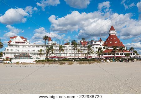 CORONADO, CALIFORNIA - JANUARY 20, 2018:  The iconic Hotel del Coronado on Coronado Central Beach. This historic beachfront hotel, built in 1888, was formerly the largest resort hotel in the world.