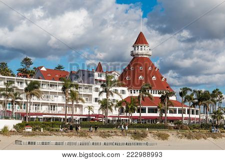 CORONADO, CALIFORNIA - JANUARY 20, 2018:  The iconic Hotel del Coronado, a historic beachfront hotel built in 1888 and formerly the largest resort hotel in the world.