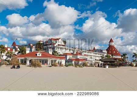 Coronado, California - January 20, 2018:  Built in 1888, with its signature turret and red roofing, the historic Hotel Del Coronado remains an iconic landmark in the San Diego area.