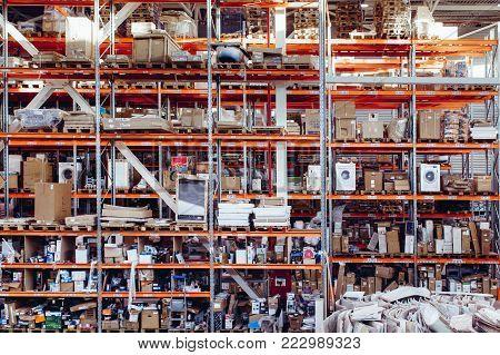 Warehouse storage of retail merchandise shop. Warehouse of home appliances