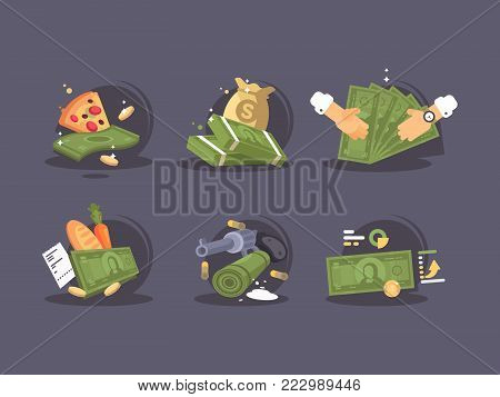 Money banknotes buy and sale icon set. Financial transactions. Vector illustration
